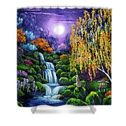Siamese Cat By A Cascading Waterfall Shower Curtain