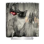 Siamese Cat In Black And White Shower Curtain