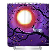 Siamese Cat In Purple Moonlight Shower Curtain
