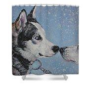 Siberian Huskies In Snow Shower Curtain by Lee Ann Shepard