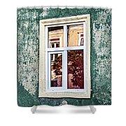 Sibiu Window Reflections - Romania Shower Curtain