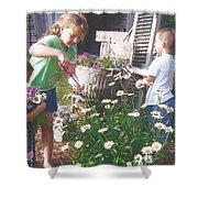Siblings In Spring Shower Curtain