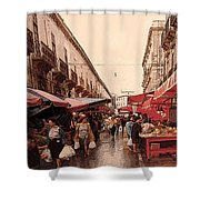 Sicilian Market After The Rain Shower Curtain