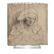Sick Woman With A Large White Headdress (saskia) Shower Curtain
