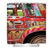 Side And Tire Of The Car-nola Shower Curtain