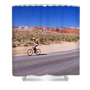 Side Profile Of A Person Cycling Shower Curtain