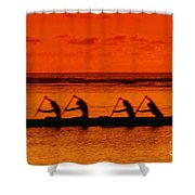 Side View Of Paddlers Shower Curtain
