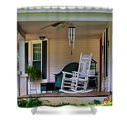 Side View Of Porch Shower Curtain