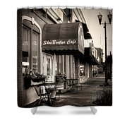 Sidewalk At Shoebooties Cafe In Black And White Shower Curtain