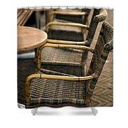 Sidewalk Cafe Texture Shower Curtain