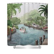Siesta Key - Fishing On The Grand Canal Shower Curtain