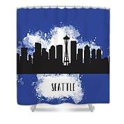 Seattle Skyline Silhouette Shower Curtain