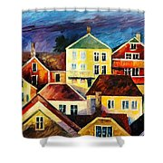 Sight From Above - Palette Knife Oil Painting On Canvas By Leonid Afremov Shower Curtain