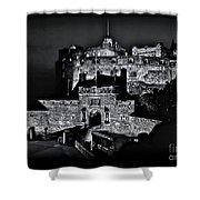 Sights In Scotland - Castle Bagpiper Shower Curtain