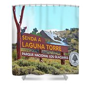 Trail Sign To Laguna Torre Shower Curtain