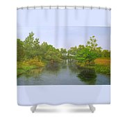 Signed Fluss By Samuel Matheis Acrylic River Holzminde, Holzminden, Germany. Shower Curtain