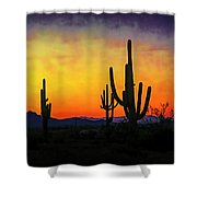 Sihouette Sunrise In The Sonoran Shower Curtain