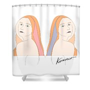 Silent Eve Mirror- Beautiful Woman Portrait Minimalist Drawing Shower Curtain