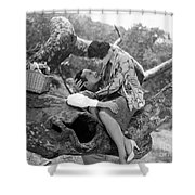 Silent Film Still: Picnic Shower Curtain