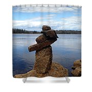 Silent Watch - Inukshuk On Boulder At Long Lake Hiking Trail Shower Curtain
