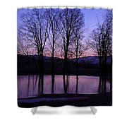 Silhouette At The Pond Shower Curtain