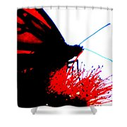 Silhouette Monarch With Red Shower Curtain