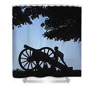 Silhouette Of A Boy And His Father Shower Curtain