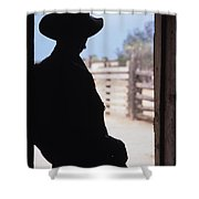 Silhouette Of A Cowboy In A Doorway Shower Curtain
