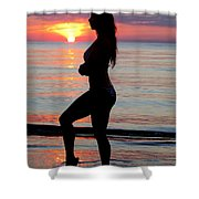 Silhouette Of A Fit Woman  Shower Curtain