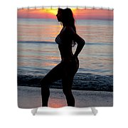 Silhouette Of A Fit Woman In Bikini  Shower Curtain