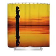 Silhouette Of A Girl Practicing Yoga Reflected On The Surface Of Water During Beautiful Sunset Shower Curtain