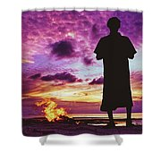 Silhouette Of A Local Man Standing By The Bonfire On The Beach In Maldives During Dramatic Sunset Shower Curtain