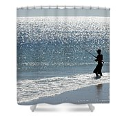 Silhouette Of A Man Fishing Shower Curtain