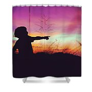 Silhouette Of A Playful Boy Pointing With Finger In The Field During Beautiful Sunset Shower Curtain