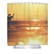 Silhouette Of A Thai Fisherman Wooden Boat Longtail During Beautiful Sunrise Shower Curtain