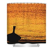 Silhouette Of A Thai Wooden Boat  On The Beach Against Golden Sunset Koh Lanta, Thailand Shower Curtain