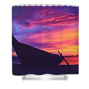 Silhouette Of A Wooden Thai Boat  On The Beach During Beautiful And Dramatic Sunset Shower Curtain