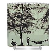 Silhouette Of A Young Men With Crossed Hands Above His Head Camping Hammocking In The Nature Shower Curtain