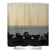 Silhouette Of Boats On Beach  Shower Curtain