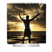 Silhouette Of Fit Man Shower Curtain