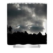 Silhouette Of Man On The Pass Himalayas Yantra.lv Shower Curtain