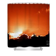 Silhouette Of Rome Against A Sunset Sky Shower Curtain