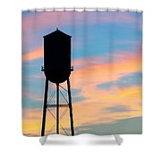 Silhouette Of Small Town Water Tower Shower Curtain