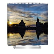 Silhouette Of Stronghold And Sunset. Pskov Kremlin. Russia Shower Curtain