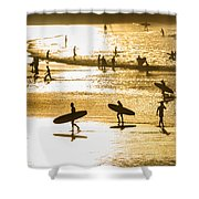 Silhouette Of Surfers At Sunset Shower Curtain