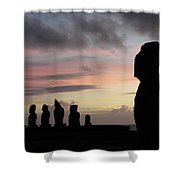 Silhouette Of The Moai Shower Curtain