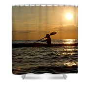 Silhouette Of Woman Kayaking In The Ocean. Shower Curtain
