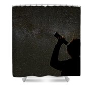 Silhouette Of Woman Looking At Stars Shower Curtain