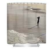 Silhouette On Beach Shower Curtain