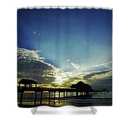 Silhouette Pier 60 Sunset Shower Curtain
